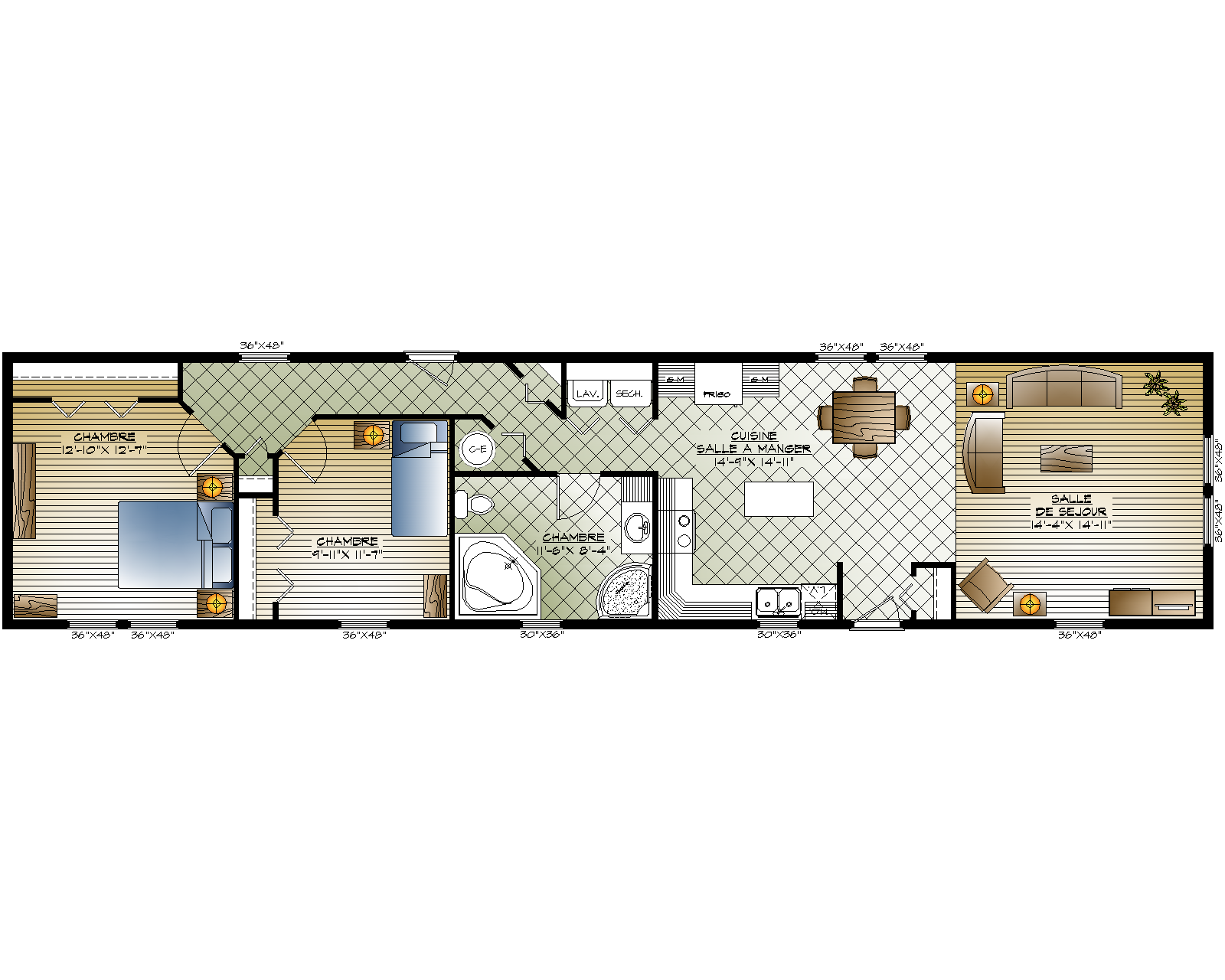 Plan maison mobile 3 chambres for A louer en floride maison mobile